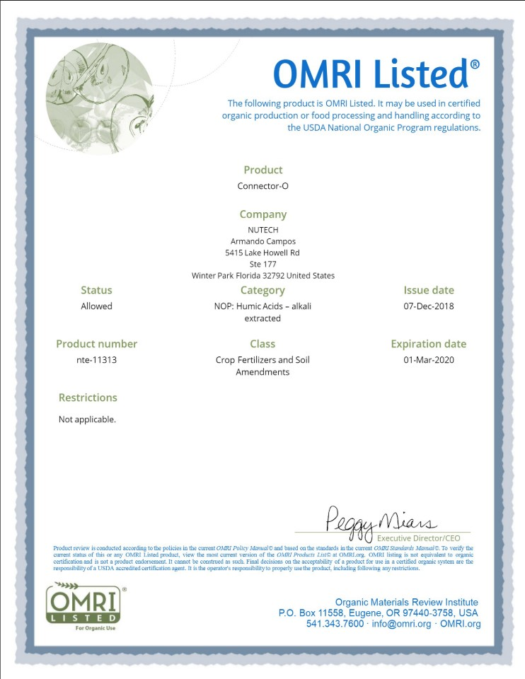 Connector-O Certification